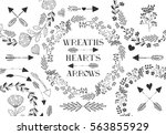 collection of vector wreaths ... | Shutterstock .eps vector #563855929