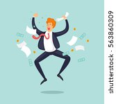 happy businessman jumping for... | Shutterstock .eps vector #563860309