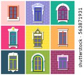 vector set of flat vintage... | Shutterstock .eps vector #563871931