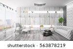 modern bright interior . 3d... | Shutterstock . vector #563878219