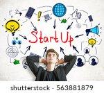 businessman standing against...   Shutterstock . vector #563881879