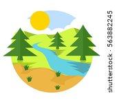 Illustration Of Sunny Pine Tre...