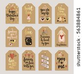 valentine s day callygraphic... | Shutterstock .eps vector #563884861