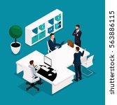 trend isometric people... | Shutterstock .eps vector #563886115