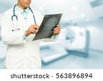 asian male medical doctor with... | Shutterstock . vector #563896894