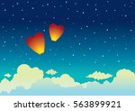Cartoon Red Sky Lanterns On A...
