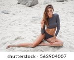sensual blond woman wearing... | Shutterstock . vector #563904007
