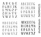 set of hand drawn fonts. script ... | Shutterstock .eps vector #563904121
