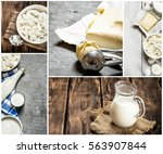 Food Collage Of Dairy Products .