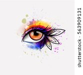 woman eye made colorful... | Shutterstock . vector #563909131