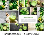 food collage of greens. | Shutterstock . vector #563910061