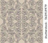 vintage baroque damask floral...   Shutterstock .eps vector #563919979