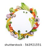 group of fresh vegetables with... | Shutterstock . vector #563921551