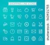 trendy line icons   online... | Shutterstock .eps vector #563921755