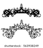 royal crown among floral decor  ... | Shutterstock .eps vector #563938249