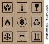 packaging symbols handle with... | Shutterstock .eps vector #563939029
