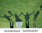 only shadows of bride groom and ...   Shutterstock . vector #563943394