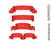 red ribbon set. banner... | Shutterstock .eps vector #563945521
