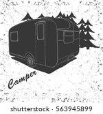 Side View Vector Illustration Of Vintage Lettering Travel Vehicles Camper Vans Caravans Typographic Camp Calligraphy