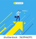 businessman with telescope... | Shutterstock .eps vector #563946391