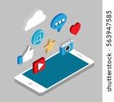social media flat 3d isometric... | Shutterstock .eps vector #563947585
