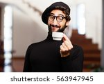 young french artist with a... | Shutterstock . vector #563947945