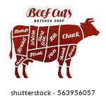 beef cuts. animal silhouette... | Shutterstock .eps vector #563956057
