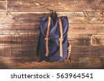 canvas and leather backpack on... | Shutterstock . vector #563964541