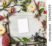 floral composition. frame made... | Shutterstock . vector #563964559