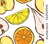 fruits  orange  lemon  kiwi ... | Shutterstock .eps vector #563965945