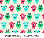 cute colored monsters seamless... | Shutterstock .eps vector #563968951