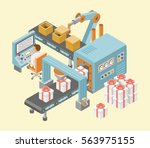 conveyor system in flat design. ... | Shutterstock .eps vector #563975155