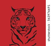 graphic tiger. red background. | Shutterstock .eps vector #563976691