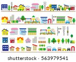 row of the house of the... | Shutterstock .eps vector #563979541