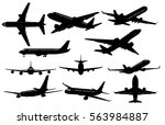 set of airplanes silhouettes.... | Shutterstock .eps vector #563984887