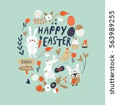 easter card with cute bunnies ... | Shutterstock .eps vector #563989255