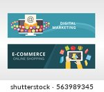 email marketing and e commerce. ... | Shutterstock .eps vector #563989345