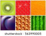fruit. different fresh fruit... | Shutterstock .eps vector #563990005