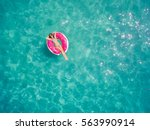 aerial view of young brunette... | Shutterstock . vector #563990914