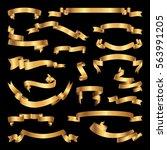 set of golden ribbons.... | Shutterstock . vector #563991205