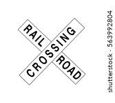 railroad crossing sign icon | Shutterstock .eps vector #563992804