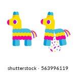 bright striped cartoon pinata.... | Shutterstock .eps vector #563996119