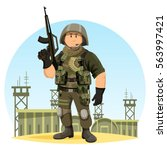 united states or us soldier in... | Shutterstock .eps vector #563997421