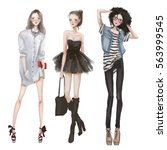 cute fashion cartoon girls | Shutterstock . vector #563999545