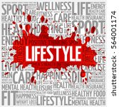 lifestyle word cloud  fitness ... | Shutterstock . vector #564001174