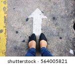 selfie old black shoes on... | Shutterstock . vector #564005821