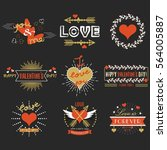 red and golden valentines day... | Shutterstock .eps vector #564005887