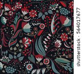 floral seamless pattern. hand... | Shutterstock .eps vector #564017677