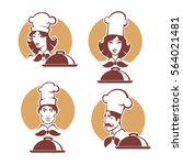 chef and woman chef  vector... | Shutterstock .eps vector #564021481