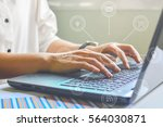 close up of typing male hands